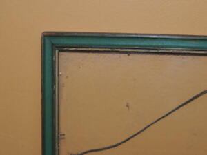 """Vintage 14.75""""x11.75"""" 11""""x14"""" Picture Frame c1940 Gold Green Mid Century STYLE"""