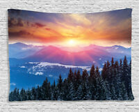 Forest Tapestry Sunset in Mountains Print Wall Hanging Decor 80Wx60L Inches