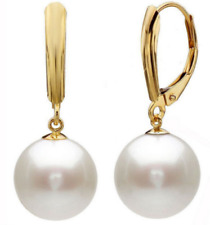 12mm White Round South Sea Shell Pearl 14K Gold Plated Leverback Earrings AAA