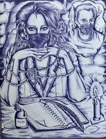 ORIGINAL INMATE ART DETAILED DRAWING FREEDOM MAN WOMAN FACE MASKS CORRESPONDENCE