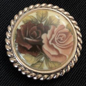 Rose Pattern West German Scarf Clip