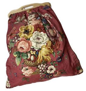 Handmade Big Bag Floral Purse Wood Handle Tote Overnight Satchel 23 Inch
