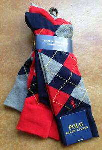 New Polo Ralph Lauren Mens 3PK Custom Fit Trouser Socks, Multi 10-13