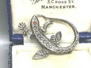 Lovely Sterling Silver Marcasite & Coral Lizard Brooch