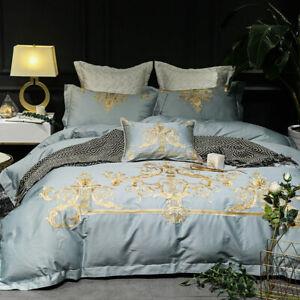 Satin Embroidery Egyptian Cotton Bedding Set 4pcs Full King Luxury Duvet Covers