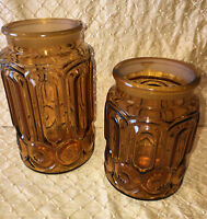 Depression Amber Glass Canister Cookie Jar Kitchen Vintage Collectible Set Of 2