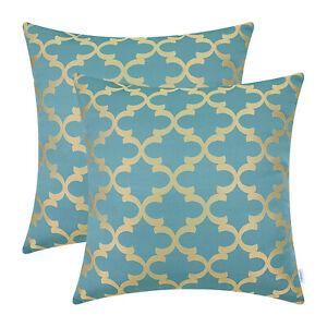 2Pcs Teal Gold Pillow Shells Cushion Covers Quatrefoil Trellis Geometric 45x45cm