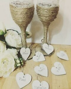 PERSONALISED WOODEN HEART NAME WINE GLASS CHARMS WEDDING TABLE