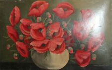 Vintage oil painting still life poppy flowers