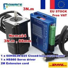 【FR】3N.m Nema24 88mm Hybrid Closed Loop CNC Servo Motor 6A+ HSS60 Driver 50V Kit