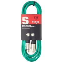 Stagg SMC3 CGR 3 m XLR to XLR High Quality Microphone Cable - Green (SMC3CGR)
