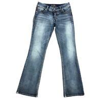 Silver Womens Blue Suki Flap Flat Front Casual Denim Bootcut Jeans Sz W 30 L 34