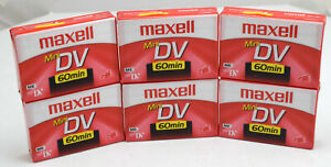 6 Maxell Mini DV 60 Minute Blank Video Tapes, Factory Sealed Brand New Old Stock