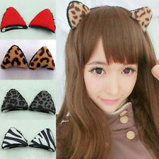 1pair Girl Hair Clips Stereo Leopard Orecchiette Cat Ear Hairpin Hair band