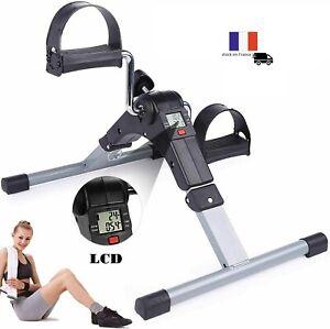 Mini Vélo d'Appartement Pédalier Pliable Réglable Ecran LCD Fitness Jambes Bras
