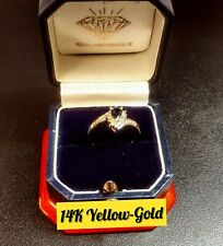 Pear Shaped Sapphire With Round Diamonds! 14K Yellow-Gold Ring!