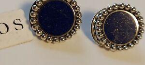 Lagos Caviar Sterling Silver Maya Lapis Lazuli Circle Earrings