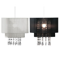 Pendant Shade With Decorative Clear Acrylic Droplet Silver Black Drum Lightshade