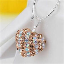 Sterling Silver 925 Chain with Peach Genuine Crystals Necklace Pendant (035)