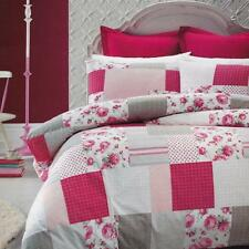 PROVENCE White Grey Pink Print Reversible KING Quilt Doona Duvet Cover Set