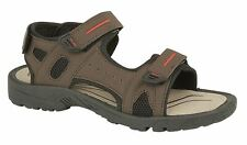 Mens Sports Sandals 3 Touch Fastening Brown Faux Suede Shoes Size