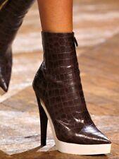 Stella McCartney Brown Crocodile Embossed Faux Leather Boots RRP £610 EU 38 UK 5
