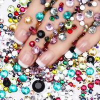 2000Pcs Nail Rhinestones Flatback Nail Art Decoration Colorful Mixed Sizes Tips