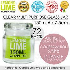 72 x Clear Glass Jars w/Airtight Lid 150ml Multi Purpose Jars Kitchen Wedding