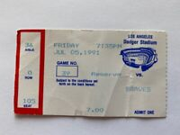 GARY CARTER Ticket Stub From His 2000 Hit Game Dodgers 7-5-1991 in LA vs Braves