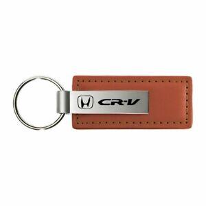 Honda CRV Key Ring Brown Leather Rectangular Keychain