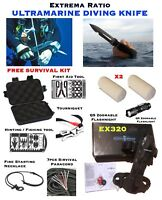 Extrema Ratio ULTRAMARINE EX320 Diving Knife Combo Set FREE Multitool Kit