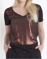 New Ladies MONSOON Black & Bronze Sequin Embellished Short Sleeve Top Size 8 -16