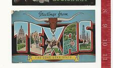 vintage large linen p c Greetings from Texas the lone star state FREE SHIPPING