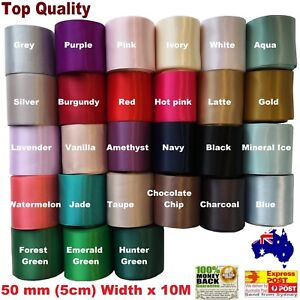 50mm (5cm)Width x 10M  Double Side Satin Car Ribbon  For Wedding  26 Colours