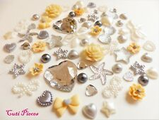 Craft Mix Lemon Grey Ivory Silver Fimo Resin Flowers Bows Pearl Hearts Flat-Back