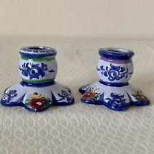 Candle stick Blue candle holder Portugal vintage ceramic candle holder