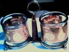 Vintage CULVER Glass Condiment Set of 2 in Holder w/ Handle Fruit gold design