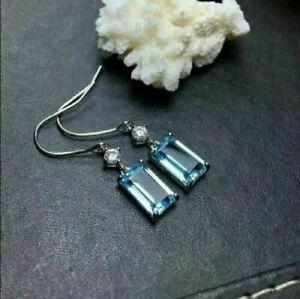 6Ct Emerald Cut Aquamarine Drop & Dangle Earrings Solid 14K White Gold Finish