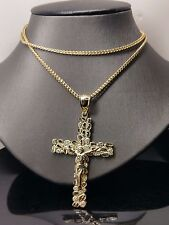 "Nugget Design Genuine 10k Yellow Gold Jesus Cross With 10K 26"" Franco Chain"