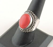 Sterling Silver 8 ct Oval Red Coral Tapered Wide Band Ring