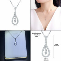 Newshe Pendant Chain Necklace For Women 0.5ct 925 Sterling Silver Round White Cz