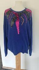 Vtg Karen Scott Ii Blue Angora Rabbit and Silk Sequin Sweater Sz 44/24W