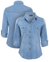 NEW Womens Denim Shirt Ladies Classic Jean Shirts Size 8 10 12 14 Blue jeans