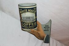 """Rare Vintage c.1910 White House Coffee Gas Oil 2 Sided 14"""" Metal Flange Sign"""