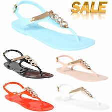 WOMENS LADIES RETRO FLAT JELLY BEACH SANDALS SUMMER GIRLS FLIP FLOPS SHOES SIZE