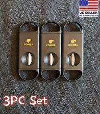 COHIBA Cigar V Cutter Stainless Steel Blade Black Plastic Cigar Scissors 3PC