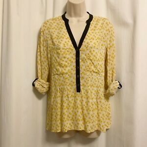 Anthropologie 4 Small Vanessa Virginia Yellow Honore Top Popover Blouse Rayon