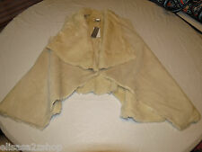WD NY XL faux fur lined Juniors Womens sleeveless jacket coat wrap NWT#