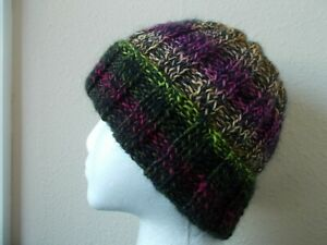Hand knitted cozy & warm wool beanie/hat, gradient tones+ black, men's/women's