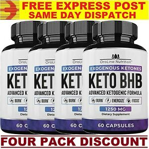 2 x Oroline KETO BHB Diet Pills 1250mg 120 Caps ADVANCED WEIGHT LOSS KETOGENIC!